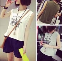 100% HOT 2014 women's clothes letter print sleeveless T-shirt female vest short style design top female