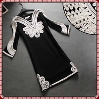 Women Europe American Fashion Three Quarter Sleeves Embroidery Elegant Black Warm Winter Autumn Beautiful V Neck Dress L XL XXXL