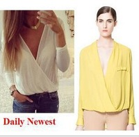 new fashion 2014 saia Women's solid white/yellow/pink za deep v-neck blouse top female s m l