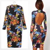 Newest 2014 Fashion Lady Vintage Ethnic Floral Print Mandarin Collar Halter Bodycon Dress Gown