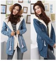 New 2014 Women's Autumn Winter Denim long  Jacket Fur Collar Lamb Woolen Patchwork Denim Outerwear Women Coats size M/L/XL