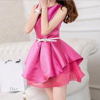 Summer Party Dresses Women 2014 Candy Solid Cute Ball Gown Chffion MIni Dress Vestidos Femininos S M L Free Shipping WQW477