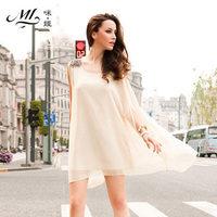 Free Shipping e Summer 2014 Woman's Dress Sleeveless loose Chiffon O-Neck  Princess Dress  S-XXL x0040