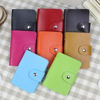 Wholesale New travel leather business card case 24 credit card bag credit card holder 8 color 8 pcs/lot