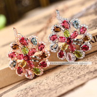 Natural tourmaline inlaying crystal rose gold fashion pendant pure silver 925 satin flower pendant Women
