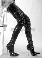 Hot sell 2014  NEW sale and retail 1pair/lot black PU 12cm high heels ,thigh high boots,  plus size Sexy women boots high heel