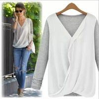 New Style High-density Stitching Knitted Chiffon Fashion Shirt Women's 2014 Long Sleeve V-neck Blouse