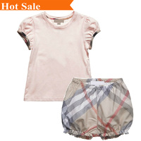 New summer brand baby girls set cotton T-shirt Scotland plaid bubble pants 2 pcs suit kids child Clothing  Children's clothes