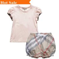 New summer brand baby girls set cotton T-shirt Scotland plaid bubble pants 2 pcs suit kids child Clothing  Children's clothes