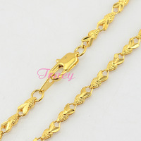 3mm Mens Womens 18K Yellow Gold Filled Link Chains Fashion Wedding Necklace