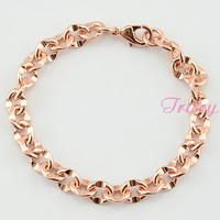 Men Womens 9mm 18K Rose Gold Filled Link Rolo Bracelet Bangles Accessories