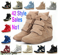 Drop Shipping /Isabel Marant Leather Boots Height Increasing Sneakers Shoes Free Shipping new color01