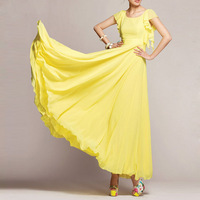 2014 Summer Chiffion Maix Dresses Empire Butterfly Sleeve Solid Pleated Long Beach Bohemian Dress Free Shipping WQW478