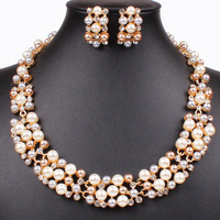 Classic Imitation Pearl Jewelry Sets Gold Plated Clear Crystal High Quality Rhinestone Bridal Necklace&Earrings Party Gifts
