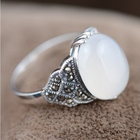 MN20404 100% real pure 925 sterling silver rings women elegant silver jewelry white chalcedony ring best gift  free shipping