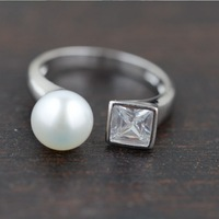 SY20301 100% real pure 925 sterling silver rings women elegant silver jewelry freshwater pearl ring best gift  free shipping