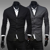 2014 New Fashion Men's Blazer Casual Slim Fit Suit Cotton Single Breasted Blazer For Men Jackets Free Shipping