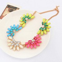 New Fashion Women Crystal Rhinestone Multicolor Resin Sun Flower Vintage Collar Statement Necklace Jewelry Free Shipping#107663
