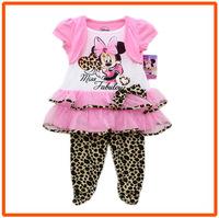 Girls Minnie Mouse Clothing Sets Kids Autumn Casual Suit New 2014 Wholesale Children Pink Dresses & Legging 6sets/Lot IDM5390