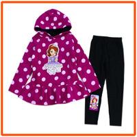 Girls Sofia Clothing Sets Kids Autumn Casual Suit New 2014 Wholesale Children Purple Dresses & Legging 6sets/Lot 1-9348