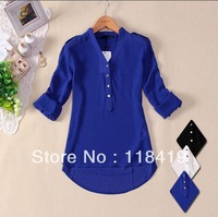 2014 New High Quality women's V-neck chiffon elegant all-match solid botton casual spirals shirt blouse 3size white blue black