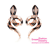 2014 New Vintage earrings fashion gold plated Anti allergic crystal Snake desgin Stud earrings for Women,5365