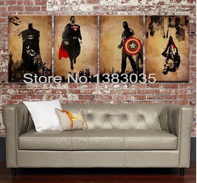 Comic Book Hero Batman,Superman,Captain America,Spider Man Handmade Modern Abstract Oil Painting 4pc Canvas Art Wall Picture Set(China (Mainland))