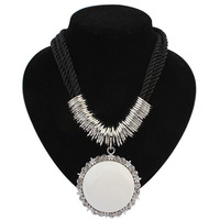 2014 Fashion Brand Jewelry Women's Black Braid Rope White Resin Round Vintage Pendant Necklace Wholesale Free Shipping#107666