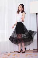 Free Shipping Sale 2014 Summer New Mesh Veil Of Black Lace Long Skirt Transparent Skirts Saias Femininas Formal For Fashion Lady