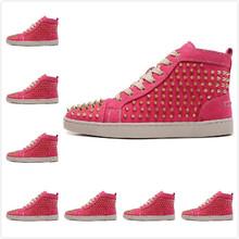 2014 tamaño : 36-46 Men & Women Pink Suede con el oro picos inferiores rojos zapatillas de deporte moda, 2014 marca de lujo Unisex zapatos ocasionales caliente venta(China (Mainland))