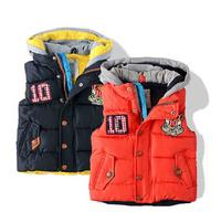 2014 new winter N boy coat kids cotton coat boy thick cloth boy letter vest big brand 2 colors