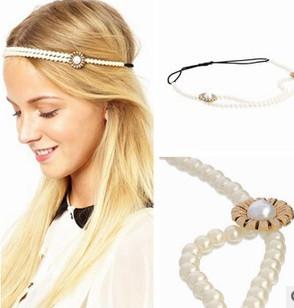 2014 New Arrival Korean Women Girls Elastic Princess Style Hair Hoop 2 Layers Pearl Hair Band Headband(China (Mainland))