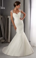 Fashion ! Mermaid Cap Sleeve Tulle Alluring Wedding Gown  , Bridal Gown  2014 with Beading Embellishments on Bodice