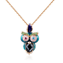 Beauty Necklaces Pendants Hot Sale White Stone Owl Pendant Fashion Gifts Necklace Rose Gold Plating Jewelry