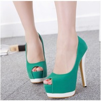 Princess banquet summer color block decoration open toe single shoes high heels platform 14cm women's pumps fashion thin heels
