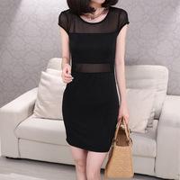 Hot Sale Summer Dress 2014 Sexy Fashion Black For  Mesh&Lace Chiffon Short Sleeve Dress Women Casual Charm Ladies Free Shipping