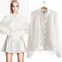 Hot sale 2014 New Women jacekets white Fashion Clothes Lace Hollow Small Shawl Women's Cardigan Thin Wild Women Jacket