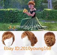 Free Hairnet Princess Frozen Anna Updo Style Weave Braid Bun Brown Cosplay Costume Wig