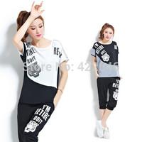 Sports set summer Women short-sleeve top+pants 2pcs/casual set  plus size women clothing