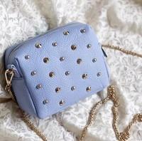 Best Selling,Free Shipping,Occident Fashion Mini Bag,Brand Rivet Bag,Soft PU Chains Bag,4 Colors,100% Good Quality