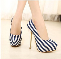 Free shipping! 2014 new autumn women's pumps sexy nightclub striped stiletto heels sexy striped shoes ,3 colors,size EUR 35-39