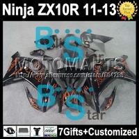 orange black 7gifts Injection  For KAWASAKI NINJA ZX10R  ZX-10R orange flames K229 ZX 10R 10 R 11 12 13 2011 2012 2013 Fairing