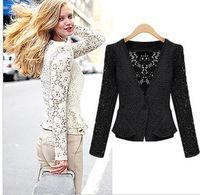 DROPSHIPPING 2014 New Top Coat Sexy Sheer Lace Blazer Lady Suit Outwear Women OL Formal Slim Jacket Black White M L XL