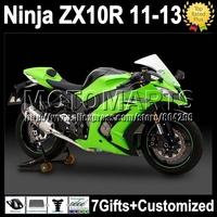 7gifts Injection  For KAWASAKI NINJA green black ZX10R  ZX-10R K2220 ZX 10R hot green black 10 R 11 12 13 2011 2012 2013 Fairing