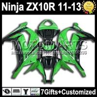 7gifts Injection  For KAWASAKI NINJA green black ZX10R  ZX-10R K2216 ZX 10R 10 R 11 12 13 2011 2012 gloss green blk 2013 Fairing