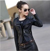 2014 Leather Jacket Women Autumn New Korean Slim Plus Size PU Leather Jacket Coat Women Motorcycle PU Leather  Short Coat