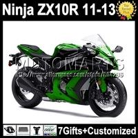 7gifts green black For KAWASAKI NINJA ZX10R  ZX-10R 11 12 13 K2221 gloss green black ZX 10R 10 R 2011 2012 2013 Injection  Fairi