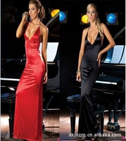 2015 Halter Backless Chiffon Ankle Length Evening dress Custom Made Super Sexy Drape Dress Prom Dresses Black Red Free Shipping