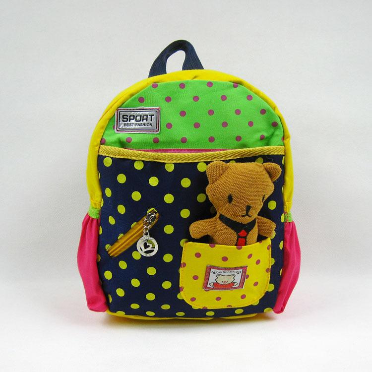 2014 kids backpack kindergarten girls boys children backpack school bags cartoon bear 1-4 year snack pack animals fashion(China (Mainland))