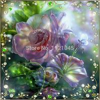 Магнолия цветок 5шт/набор новой стены украшения diy полный дрель алмаз живопись крестиком горный хрусталь вставил живописи az198